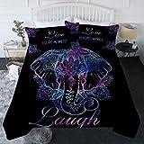 BlessLiving Boho Elephant Comforter Set Lotus Flower Bedding Set with Comforter Mandala Paisley Bed Set Neon Purple Blue Black Full/Queen Size Bedspreads (3 Piece, 1 Comforter and 2 Pillow Shams)
