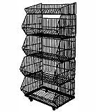 Yudu 5er Stapelkörbe Gitterkorb Wühlkorb Verkaufständer Warenständer Schwarz