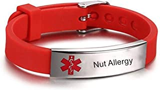 LiFashion LF Stainless Steel Children Mens Womens Red Silicone Chain Adjustable Medical Allergy Bracelet ID Health Alert Monitoring Systems Adjustable Bangle Wristband for Adults Teen Kids