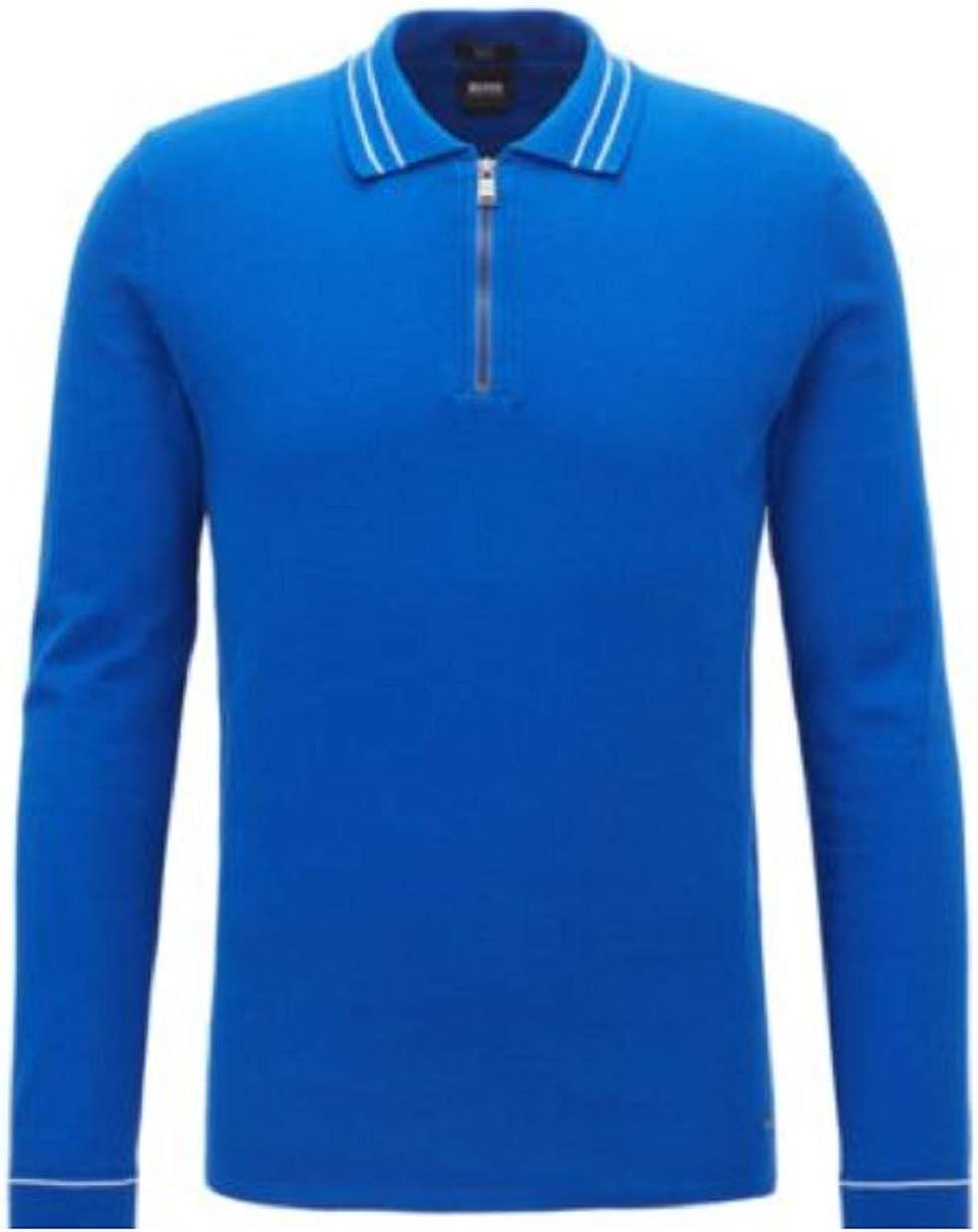 Hugo Boss Max 57% OFF Men's Royal Blue Zipper Polo Neck Fit Slim Sweater 5 ☆ popular