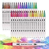 36 Couleurs Stylo Aquarelle,Feutres Pinceaux,Art aquarelle Brosse Pointe stylos,Dual Brush Pen pour...