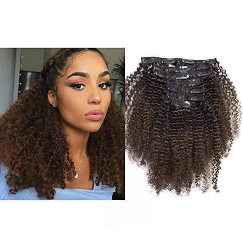 Lacer Ombre Remy Clip in Human Hair Extensions Afro Kinky Curly Clip 4B 4C Real Remy Natural Black Hair Extension Clip in Human Hair Two Tone T#1B/4 Dark Brown Color Full Head 18 Inch