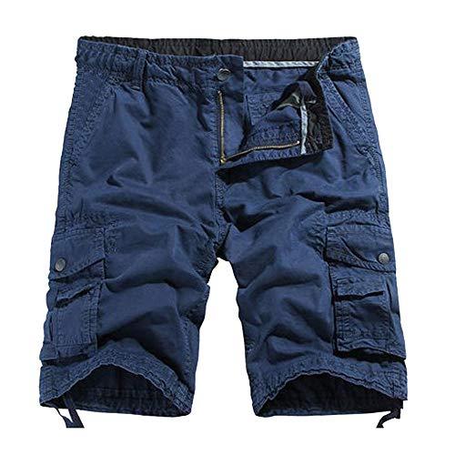 NEEKY Men Shorts Loose Sommer Herrenmode Mid-Rise Herren Shorts Casual Multi-Pocket Tooling Pants Herren Hosen Sommer 1/2(32,Blau)