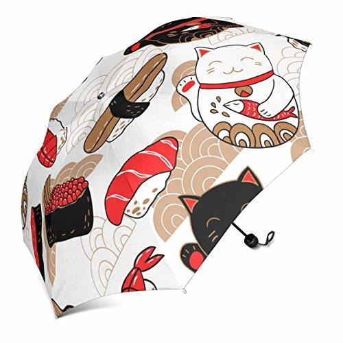 InterestPrint im Oriental Style mit Sushi und Katze Maneki Neko, Bringen Viel Glück Faltbar Tragbar Outdoor Reise Kompakt Regenschirm (109,2cm)