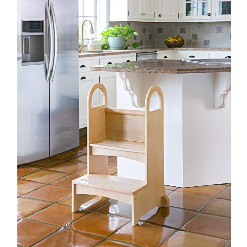 Guidecraft Kitchen Helper High-Rise Step-Up - Natural: Wooden Step Stool for Toddlers, Counter Height with Handholds - Quality Kids Furniture
