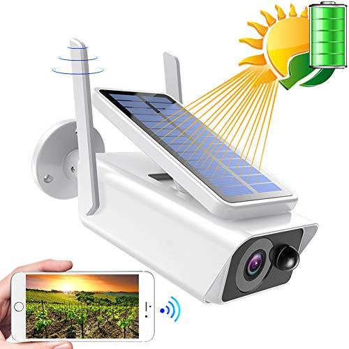 Cámara de Seguridad inalámbrica para Exteriores, WiFi Energía de batería Recargable Solar Cámaras domésticas de vigilancia IP, con detección de Movimiento PIR, visión Nocturna, Audio de 2 vías