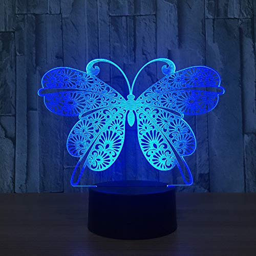 Mddjj 3D Night Light Animal Butterfly Changeable Mood Lamp Led 7 Color Illusion Table Lamp For Home Decor With Remote Touch Switch Schlafzimmerdekoration