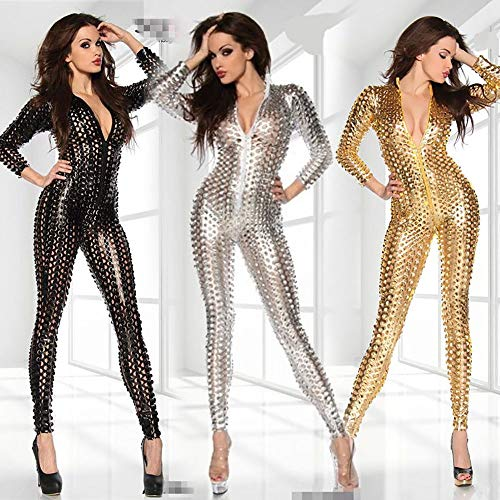 Vrouwen Patent Leather lingerie sets Tight Lange mouwen Jumpsuit ZHQHYQHHX (Color : Silver, Size : M)