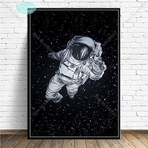 Aya611 Astronaut Space Dreaming Stars Galaxy Poster 2001 Space Odyssey Leinwand Malerei Poster und Drucke Wandkunst für Raum Wohnkultur 50x70 cm Ungerahmt