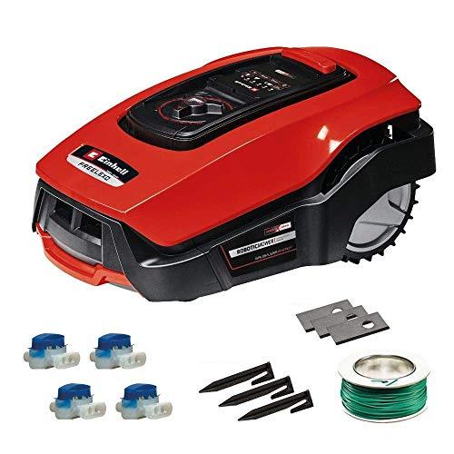 Einhell Mähroboter FREELEXO 500 m² Kit Power X-Change (Li-Ion, bis zu 500 m², Multizonen-Modus, bis 35{2ab59599454c509ad33ab292cf7ab019856ed7fb1d865dc4ba22939dee706764} Steigung, Appsteuerung d. Bluetooth, Stoß-/Kipp-/Hebe-/Regensensor, inkl. Installations Kit)