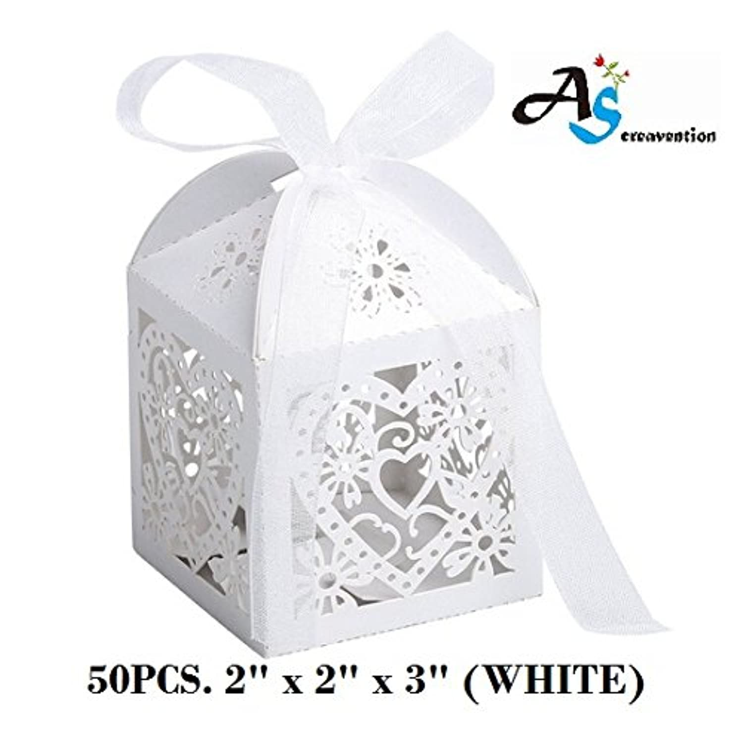 A&S Creavention Love Hearts Laser Cut Wedding Party Baby Shower Candy Box, 50PCS (Hearts, WHITE)