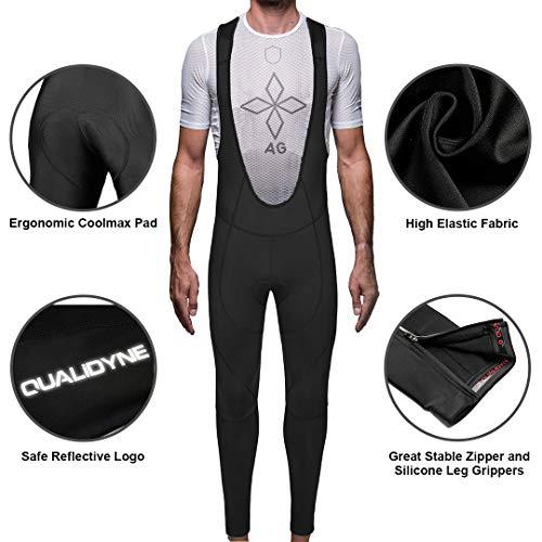 qualidyne Fahrradhose Herren Gepolstert Trägerhosen Bib Pants Elastische Atmungsaktive mit Sitzpolster und Reflektoren - 2