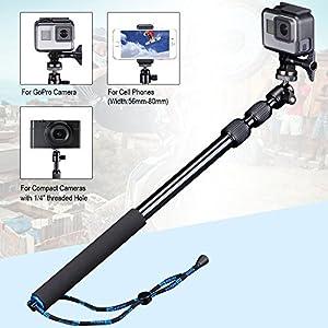 Smatree Telescoping Selfie Stick Compatible for GoPro Max/Hero 8/7/6/5/4/3+/3/Session/GOPRO Hero(2018)/Ricoh Theta S/V/Samsung Gear360/YI 4K