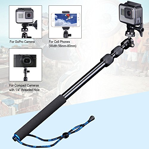Smatree Telescoping Selfie Stick Compatible for GoPro Max/Hero 9/8/7/6/5/4/3+/3/Session/GOPRO Hero(2018)/Ricoh Theta S/V/Samsung Gear360/YI 4K