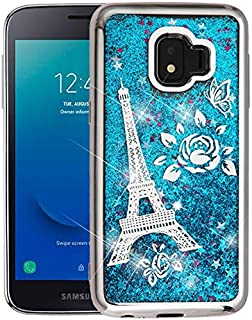 Compatible for Samsung Galaxy J2 Case, J2 Core 2018, Galaxy J2 Dash 2019 Liquid Glitter Quicksand Lightweight Clear Cover Bling Floating Sparkle Confetti Fashion Cute Girls Women (Teal Heart)
