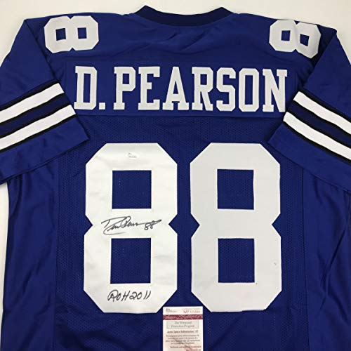 Autographed/Signed Drew Pearson ROH 2011 Dallas Blue Football Jersey JSA COA