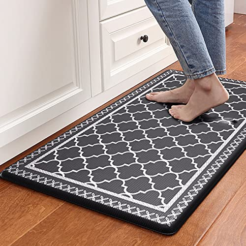 Villsure Kitchen Mat Cushioned Anti-Fatigue Kitchen Rug 17.3'x 29' Waterproof Non-Slip Kitchen Rugs Heavy Duty PVC Ergonomic Comfort Standing Foam Mats for Kitchen, Floor Home, Office, Sink, Laundry