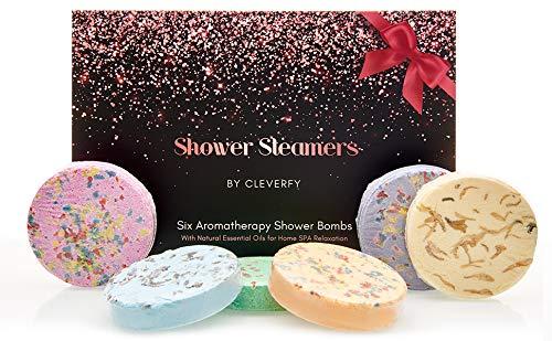 Cleverfy Aromatherapy Shower Steamers - Variety Pack of 6 Shower Bombs. Rose Gold Set: Lavender, Menthol, Bergamot & Mandarin, Pomegranate & Rose, Peony & Pear, Vanilla & Sweet Orange 40g