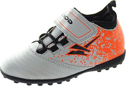 Gola Stimson Velcro, Botas de fútbol para Niños, Plateado (Silver/Black/Orange), 24 EU