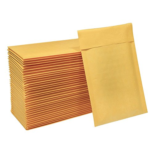 HBlife 4x8 Inches Kraft Bubble Mailers Self Seal Padded Envelopes, Pack of 50
