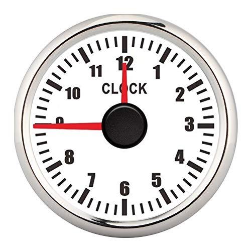 Fictory Zifferblattuhr-2-Zoll-Universalanzeige 0-12 Stundenanzeige Instrumententafelanzeige Anzeige Rote Hintergrundbeleuchtung 12V/24V für Auto-Bootsyacht(Weiß)