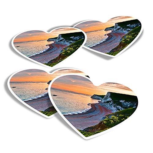Pegatinas de vinilo con forma de corazón (juego de 4) – Durdle Door Sunset Beach England divertidos adhesivos para ordenadores portátiles, tabletas, equipaje, reserva de chatarra, frigoríficos #16182