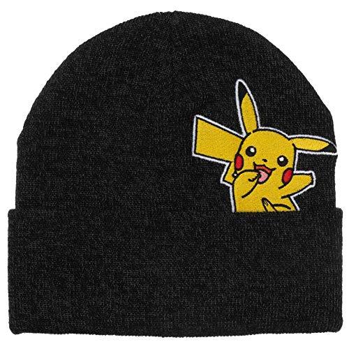 Bioworld Pikachu Anime Cuffed Beanie Winter Hat Black
