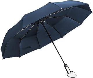 Placextre Wind Resistant Folding Automatic Umbrella Rain Big Rain Parasol Umbrella Black Coating 10 Ribs