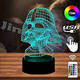 Star Wars Black Knight Lamp for Boy Room 3D Cartoon Night Light Darth Vader Dark Warrior LED 7 Color USB Remote Change Table Lamp Holiday Party Mood RGB Illusion Kids Toys Xmas Friends Gift