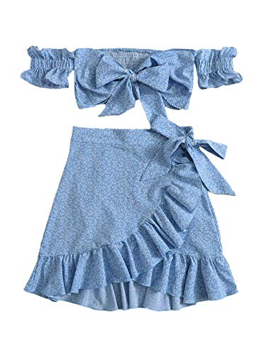 MakeMeChic Women's Two Piece Floral Ruffle Trim Cami Crop Top and Wrap Skirt Set Blue Medium