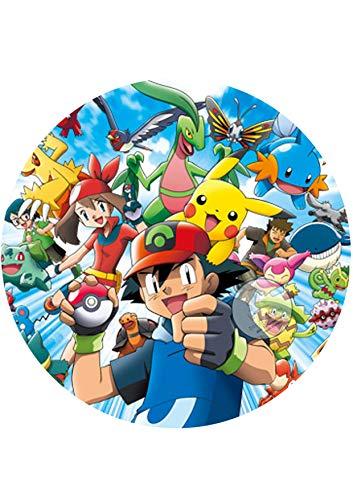 Für den Geburtstag ein Tortenbild, Zuckerbild mit dem Motiv: Pokemon, Essbares Foto für Torten, Tortenbild, Tortenaufleger Ø 20cm - 0285w