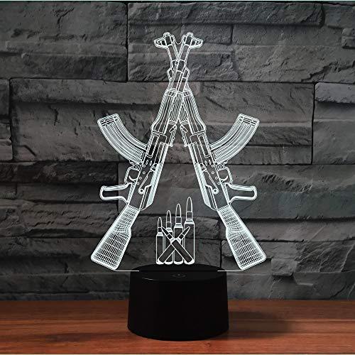 3D Schusswaffen Optische Illusions-Lampen, Mit Fernbedienung,Tolle 7/16 Farbwechsel Acryl berühren Tabelle Schreibtisch-Nachtlicht mit USB-Kabel für Kinder Schlafzimmer Geburtstagsgeschenke Geschenk