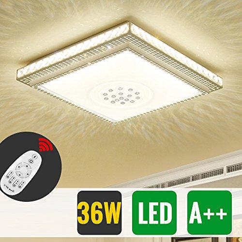 HG® 36W LED Deckenleuchte Decken Wohnraum Lampe Eckig Starlight Effekt Beleuchtung Dimmer