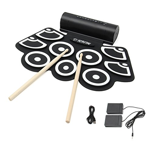 Electronic Roll up Drum, Hizek Built in Speaker 9 Pads Portable Electronic Drum...