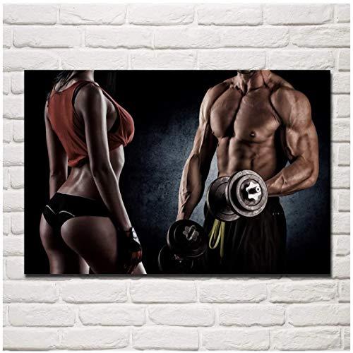 Mancuernas fitness culturistas mujer hombre gimnasio sala de estar pared del hogar arte moderno decoración cartel 24x32 pulgadas 1 Uds Sin marco