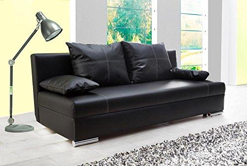 lifestyle4living Schlafsofa in Schwarz | Sofa mit Bettkasten aus Kunstleder | Funktionssofa inkl. 2 Rückenkissen und 2 Armlehnkissen