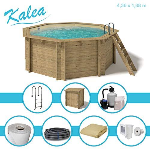 Paradies Pool® Holzpool Kalea Premium Komplettset inkl. Sandfilteranlage für 50er Verrohrung, Pumpenhaus, Tiefbeckenleiter, Folie Sand 0,8mm Stärke, Achteck-Pool, 436 x 138 (Ø x H), Menge: 1 Stück