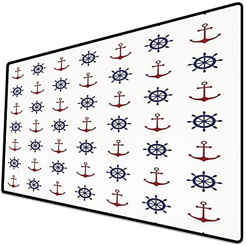 Alfombrilla de ratón (800x400x3 mm) Ancla, Diseño de Decoración Marítima Anclas y Ruedas de Barco en la Impresión de Fondo Blanco, AZ Superficie Suave y cómoda de la Alfombrilla de ratón para Juegos