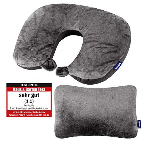 Dunlopillo reiskussen en nekkussen 2 in 1 - 31x21 cm - nekkussen voor in vliegtuig en voor op reis - Reiskussen vliegtuig - Travel Pillow - ergonomisch kussen met micro bolletjes