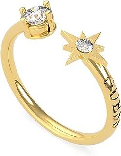 خاتم مفتوح ستانلس ستيل مزين بفصوص زركون وشعار محفور للنساء من جيس UBR20014-52 - ذهبي