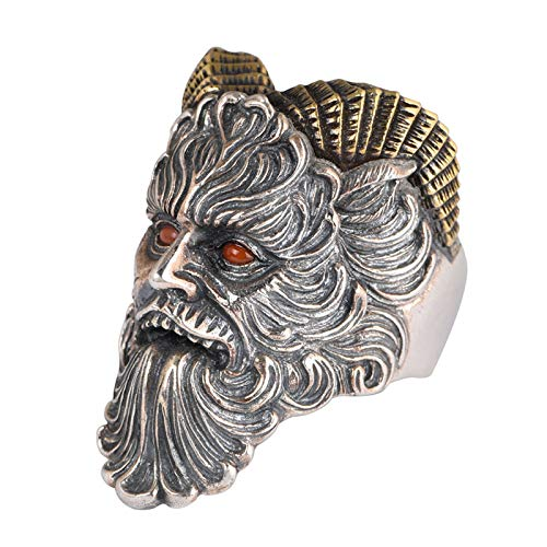 HQLCX Ring,S925 Sterling Silver Vintage Thai Silver Ring for Men Open Satin Style Inlaid Agate Ornament Religious Christ Jewelry