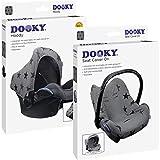 Original Dooky Combi Pack – Hoody & Seat Cover – Protección solar y funda para portabebés (Diseño: Grey Stars, Grupo de edad 0+, protección UV 40+, adecuado para la mayoría de marcas), gris oscuro