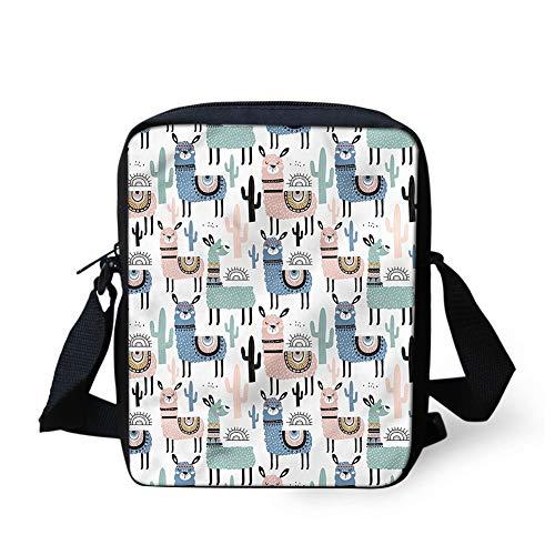 Aoopistc Messenger Bags Cute Alpaca Llama Printed Handbag Small Crossbody Bag Cell Phone Wallet Tote Cross Body School Bookbag Travel Shoulder Bag Purse Teen Girl Boy
