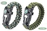 Paracord Survival Armband, Deesos 2 Stück Survival Kit mit Flint Fire Starter, Schaber, Kompass,...
