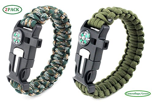 Paracord Survival Armband, Deesos 2 Stück Survival Kit mit Flint Fire Starter, Schaber, Kompass, Pfeife und Fallschirmseil Schnalle für Wandern Camping, Bootsfahren