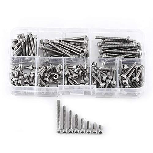 Akozon 160 piezas 304 tornillos de cabeza hexagonal de rosca métrica de acero inoxidable con caja de almacenamiento, M3 x 6/8/10/12/16/20/25/30 mm