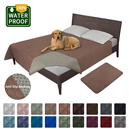 Easy-Going 100% Waterproof Dog Bed Cover Furniture Protector Sofa Cover Non-Slip Washable Reusable Incontinence Bed Underpads for Pets Kids Children Dog Cat(52x82 in,Brown)