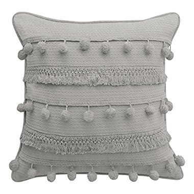 Boho Living Fiji Pompom Decorative Pillow, 18  x 18 , Light Grey