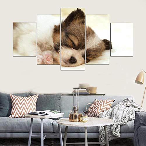 CUISAI 5 Cuadros en Lienzo Salon Decoracion Perro animal lindo moderno 200X100cm(Sin marco)Póster de arte cuadro Modular pintura de pared decoración del hogar moderno sobre lienzo el marco de la sal