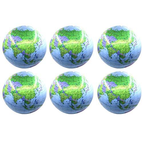 LIOOBO 6Pcs Bola de la bola de la playa del mapa del mundo inflable que juega la bola juguete inflable de la piscina para los niños